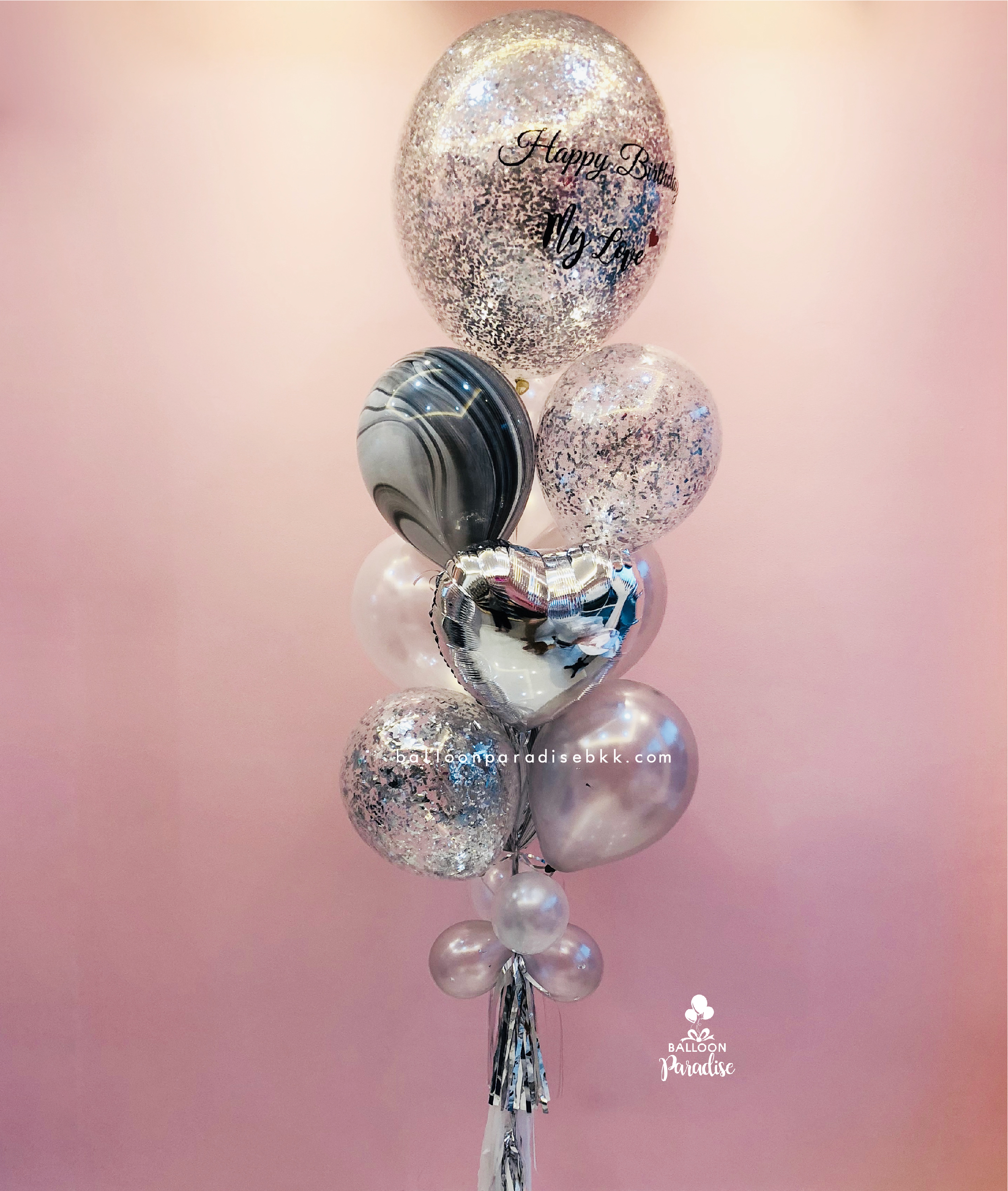 Balloon Bouquet Happy Birthday My Love Silver Marble 27 Inch 10 Pcs Hb0028